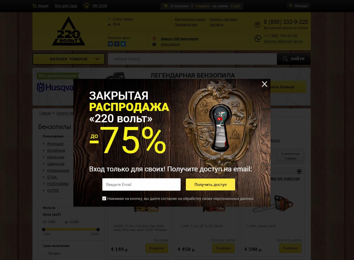 Поп-ап для сбора контактов на сайте «220 вольт»