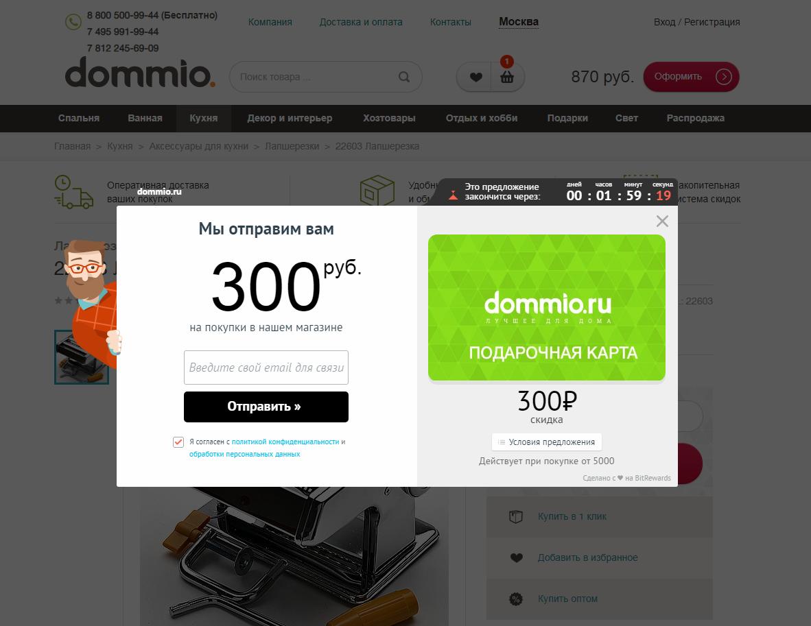 Пример поп-апа на сайте компании Dommio