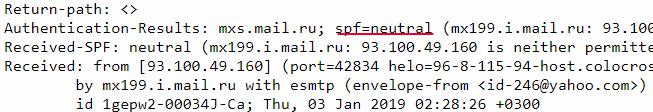 Результат проверки типичного письма со спамом