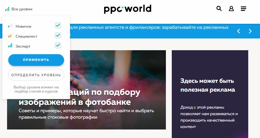 Выбор уровня пользователя для прохождения опроса на сайте PPC.World