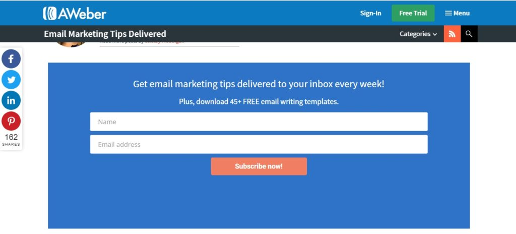 Поп-ап на платформе для email-маркетинга Aweber