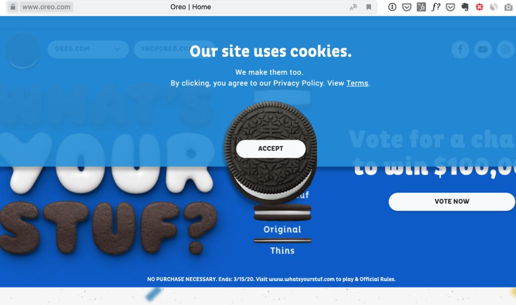 Интересная форма согласия на сбор куки на сайте oreo.com