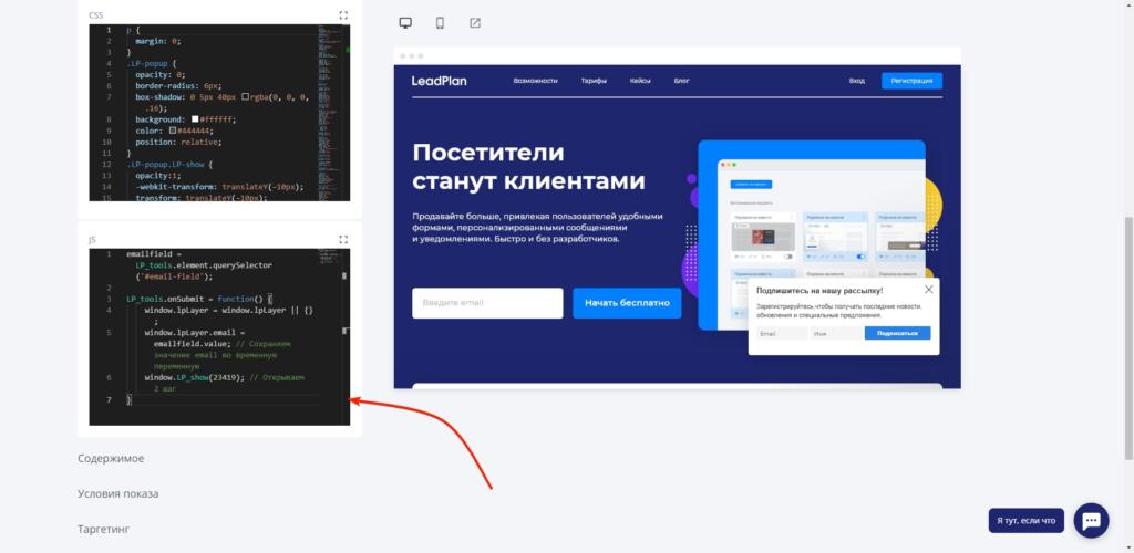 Вставляем код в блок JavaScript: просим LeadPlan запомнить email
